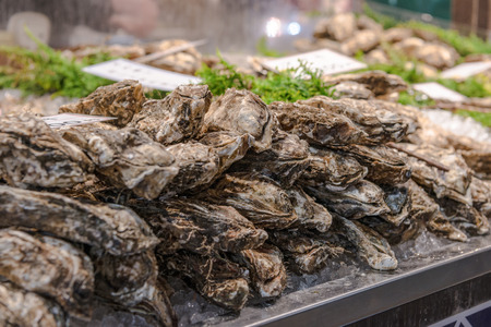 The oysters in front of restaurant