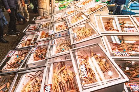 Scenery of the sea foods market in Japan