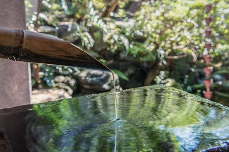 Washbasin set in Japanese garden 版權商用圖片