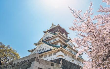 Het landschap van de lente van het kasteel van Osaka