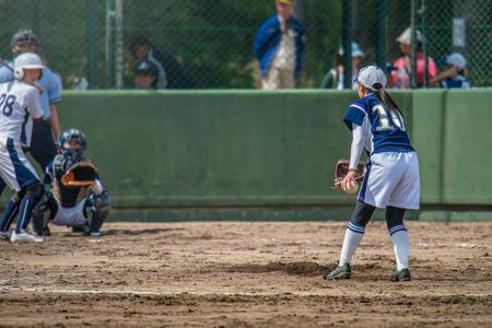 ballpark: Game scenery of the girl student softball Stock Photo