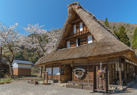 gokayama: Spring scenery of the World Heritage site Suganuma (Gokayama) mountain village