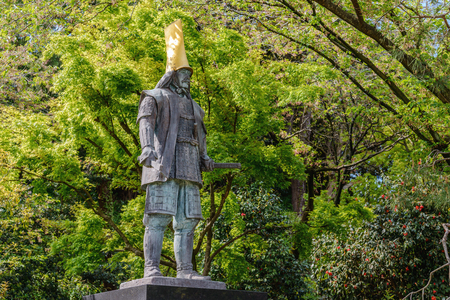 The statue of Maeda Toshiie in Kanazawa castle Stock Photo