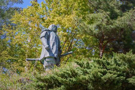 The statue of Uesugi Kenshin in Kasugayama castle ruins