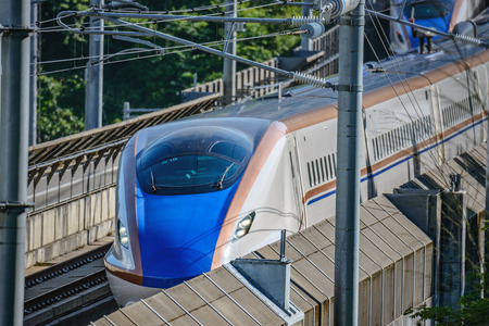 The E7 Series Shinkansen bullet train network of high-speed railway lines in Japan Editorial