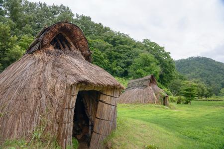 dwelling: Pit dwelling houses Stock Photo