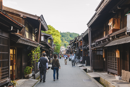 Traditional cityscape of the Takayama city in Gifu, Japan