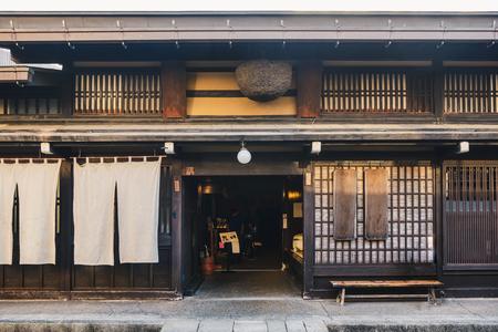Traditional liquor store of the Takayama city in  Japan 版權商用圖片