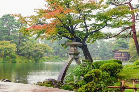Kenrokuen garden in the autumn rain Stock Photo