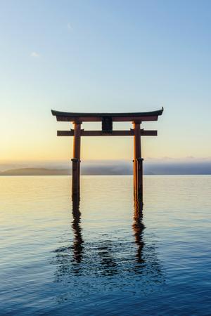 Otorii gate in the Biwako lake of the morning glow