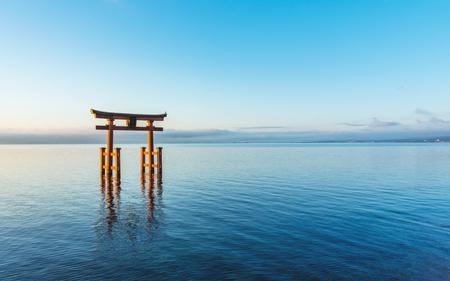 Otorii gate in the Biwako lake of the morning