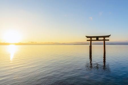 Otorii gate of the Biwako lake in the morning Stock Photo