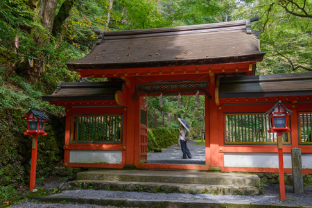 Shinmon gate of the Kifune jinja shrine in Kyoto Stockfoto