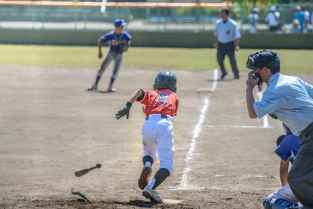 Little league baseball game Stock Photo