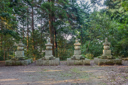 The memorial tower of the Nobukatsu Oda in Azuchi castle ruins 版權商用圖片