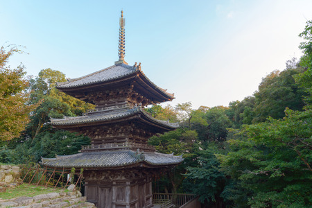 Scenery of the three story pagoda in Azuchi castle ruins