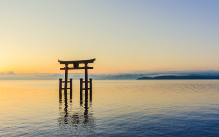 Otorii gate in the Biwako lake of the morning glow