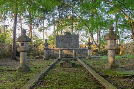 Mausoleum of Lord Nobunaga ODA-The site of Nino-maru of the Azuchi-jo castle ruins 版權商用圖片