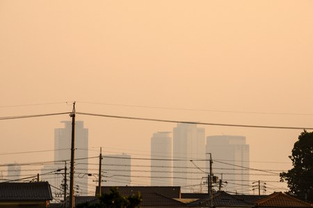 Cityscape of the Nagoya city in the dusk