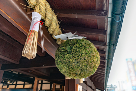 Cedar ball which is Japanese tradition sign ball of liquor store