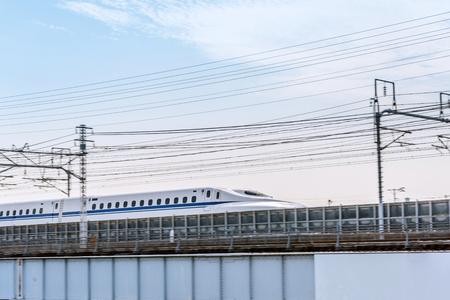 The Shinkansen bullet train which runs on the iron bridge