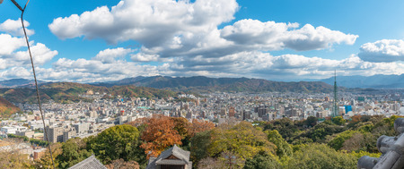 Cityscape of the Matsuyama city from the Matsuyama castle in Japan
