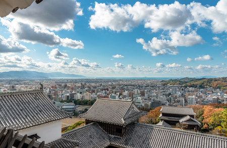 The main enclosure of Matsuyama-jo castle and Cityscape of the Matsuyama city in Japan