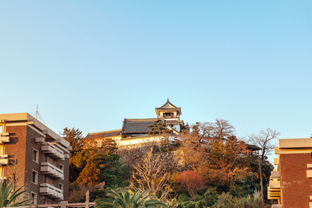 Evening scenery of the Kochi castle in Kochi, Japan