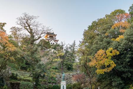Evening scenery of the Kochi castle in Kochi, Japan