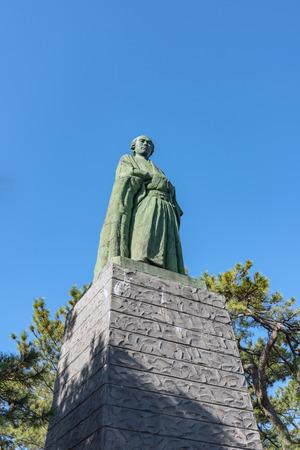 The statue of Ryoma SAKAMOTO in Katsurahama, Kochi, Japan