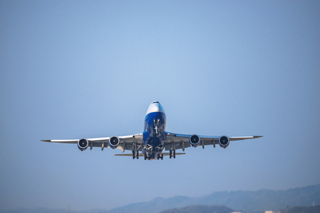 The jumbo jet which takes off