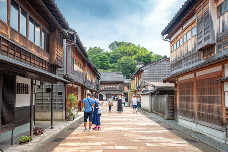 Traditional Japanese cityscape in Kanazawa, Japan Stok Fotoğraf - 113860249