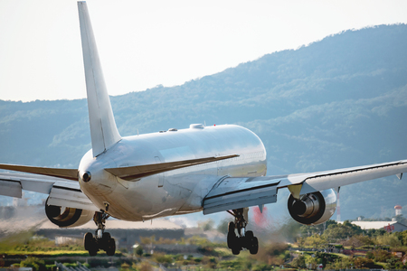 The passenger plane which lands