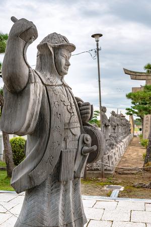 Stone statue of Kuranosuke Oishi in Oishi jinja shrine