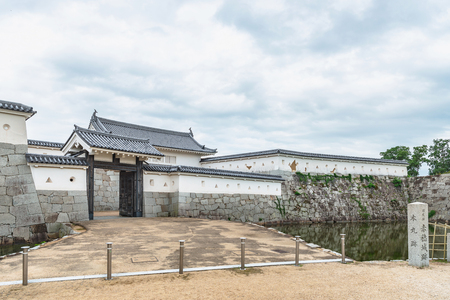 The front gate of the main enclosure of the Ako castle in Ako city, Japan