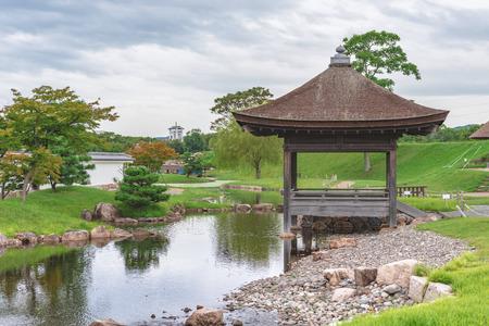 The garden of Ninomaru in Ako-jo castle in Ako city, Japan Editorial