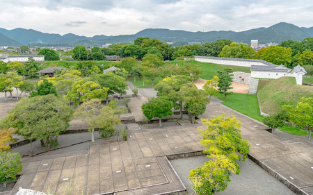 The main enclosure garden of the Ako castle in Ako city, Japan