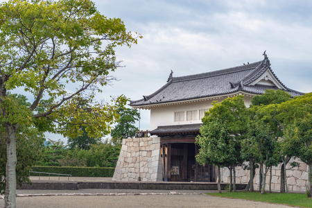 Honmaru gate mon of the main enclosure of the Ako castle in Ako city, Japan