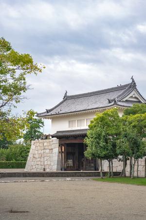 Honmaru gate mon of the main enclosure of the Ako castle in Ako city, Japan