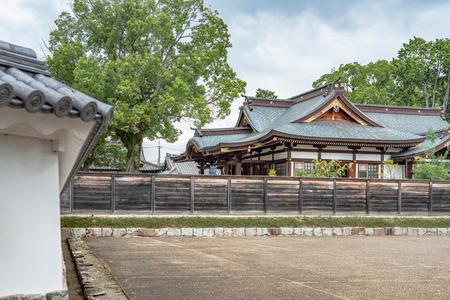 Worship hall of the Oishi jinja shrine in Ako city