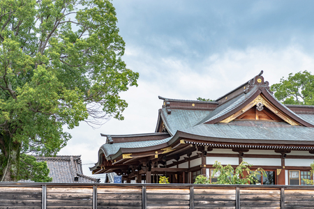 Worship hall of the Oishi jinja shrine in Ako city