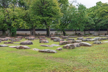 Foundation stones of the former castle tower of Okayama castle in Okayama, Japan
