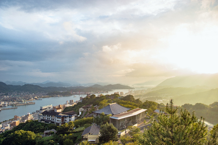Evening landscape of Onomichi and Mukoujima in Hiroshima, Japan Standard-Bild