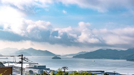 Beautiful landscape of the Seto Inland Sea from Mihara city in Hiroshima, Japan Stockfoto