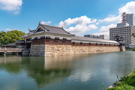 Scenery of the Hiroshima castle in Hiroshima city, Japan