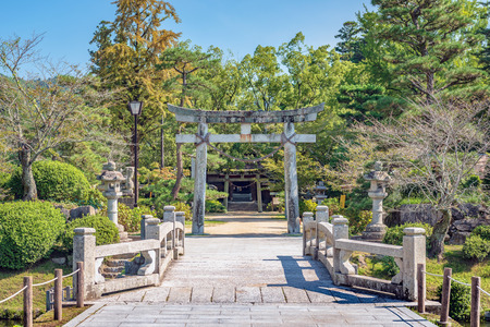 The approach to the Kikko at the shrine in Iwakuni city, Japan 스톡 콘텐츠
