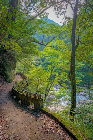 Scenery of the Sandankyo gorge (Special Places of Scenic Beauty) in Hiroshima, Japan