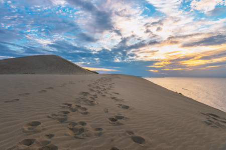 Evening scenery of the Tottori Sand Dunes 스톡 콘텐츠