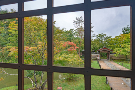 Garden scenery over the window of the Kodaiji temple in Kyoto