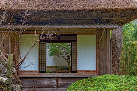 Sanyoshitsu Teahouse of Chido Museum in Tsuruoka city 免版税图像